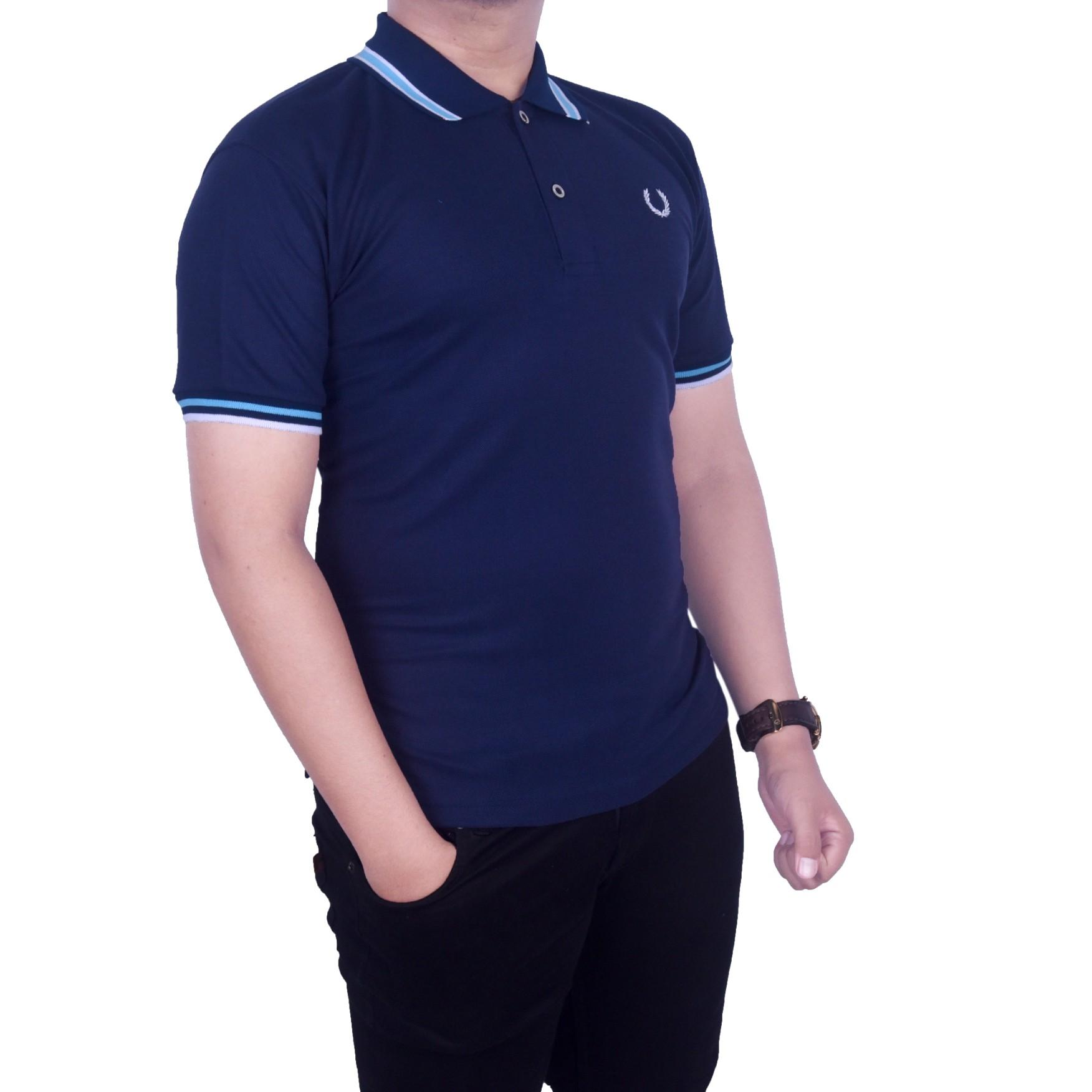 Polo Shirt Pria Terbaru Murah Kaos Kerah Bahan Lacoste Pique Tebal Dgm Fashion1 Polos Navy Kombinasi