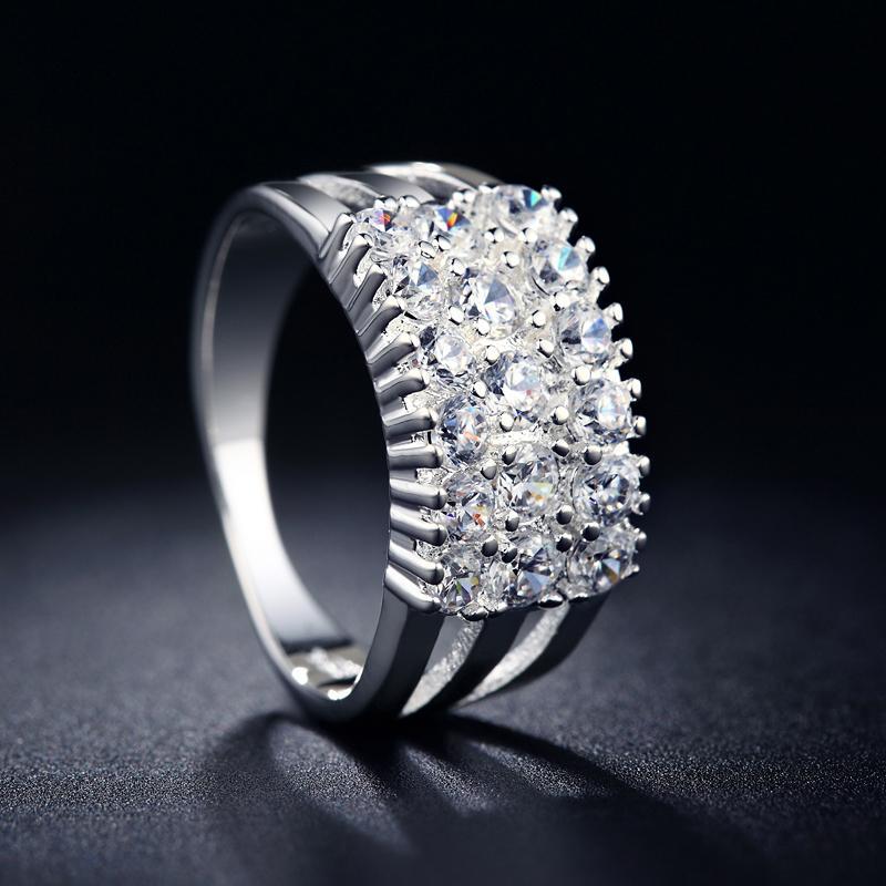 Diskon Promo Perhiasan Aksesoris Cincin Silver Berlian Lapis Perak Perhiasan Imitasi Wanita BR096 Murah
