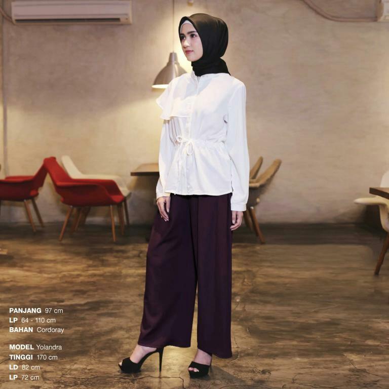 Celana Kulot Wanita Warna Hitam Navy Putih Polos Murah Bahan Awet - P1952