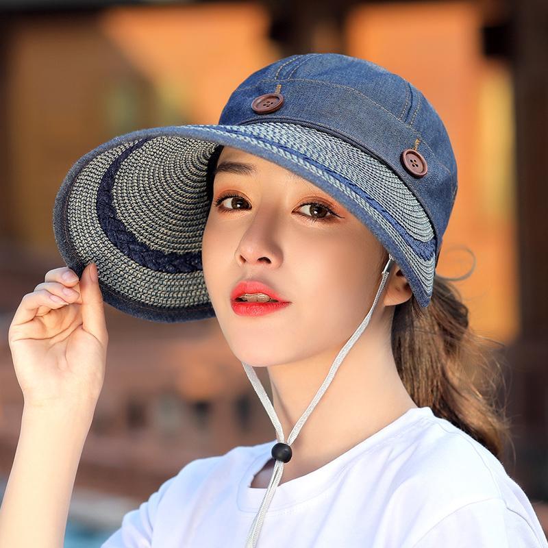 Topi Pelindung Sinar Matahari Matahari Wanita Musim Panas Topi Matahari Luar Rumah Anti Sinar Ultraviolet (Denim Biru)
