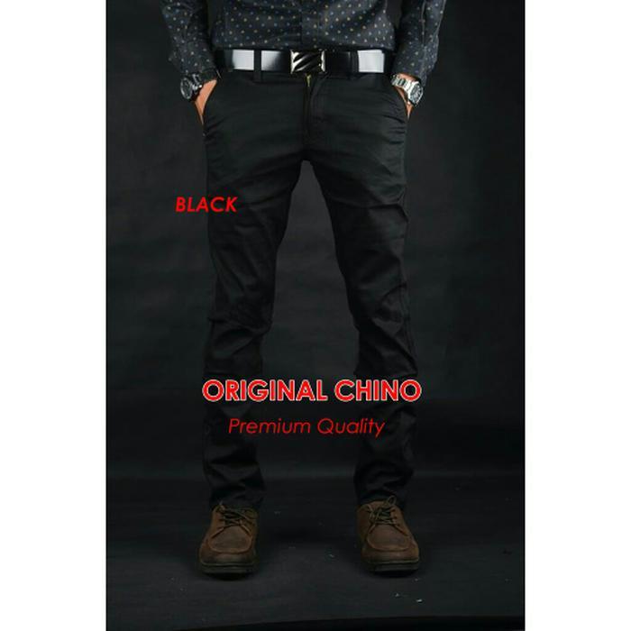Celana Chino Panjang Pants Pria Men Original Distro Premium Kantor Formal Murah - HITAM