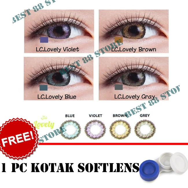 BEST SELLER Softlens Living Color Lovely : Blue,Brown, Grey, Violet - Kualitas Bagus + FREE Lenscase
