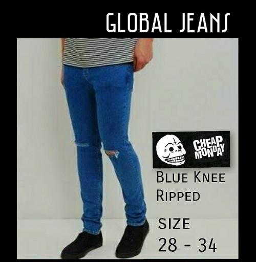 Celana Jeans Biru Sobek Lutut Ripped Pria Cowok