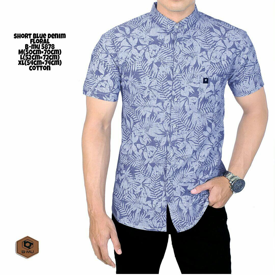 the most - Kemeja Pendek Biru Corak kemeja santai adem motif bunganyaman kantor ker ja atasan cowok termurah terlaris beli baju distro bandung