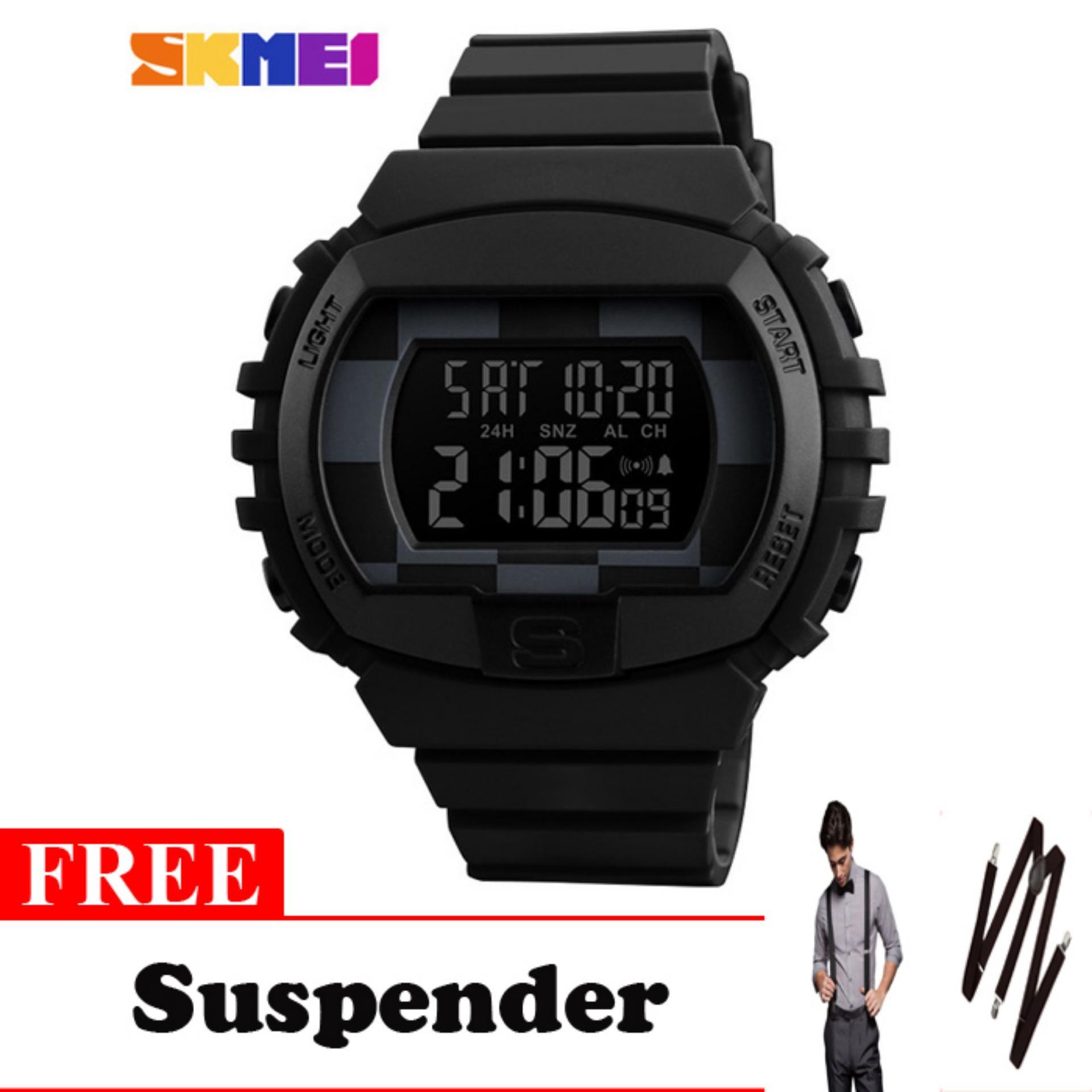 SKMEI Jam Tangan Digital Sporty Pria 1304 Jam Tangan Pria Original - Hitam - Free Suspender Keren