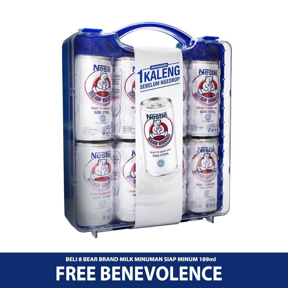 BEAR BRAND MILK Minuman Siap Minum 189ml [8pcs] GRATIS BENEVOLENCE