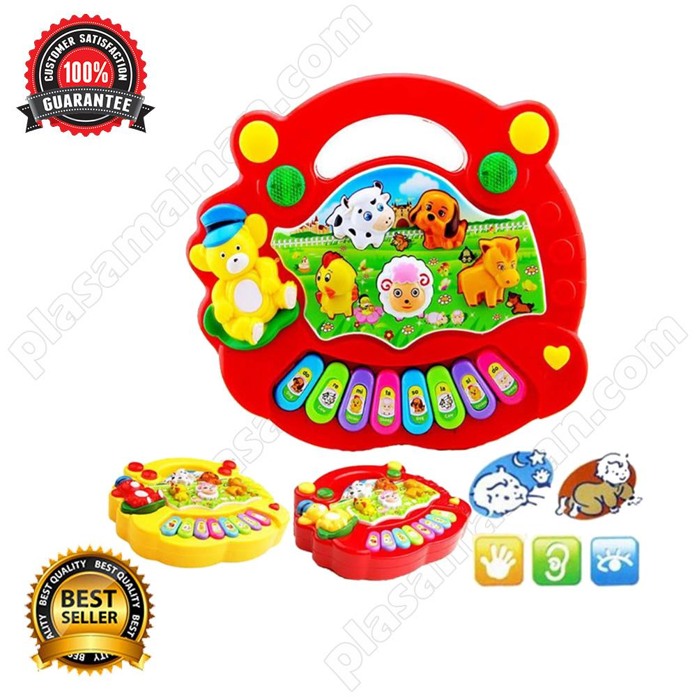 Momo Toys Animal Farm Piano Merah - Mainan Piano / Mainan Anak By Plasamainan.