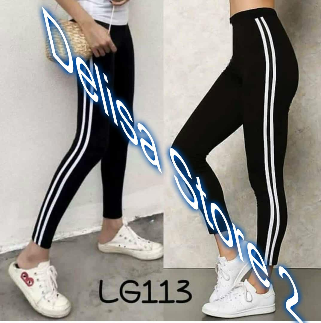 Legging Import List Garis Dua Putih Delisa Store 2 Model Terbaru