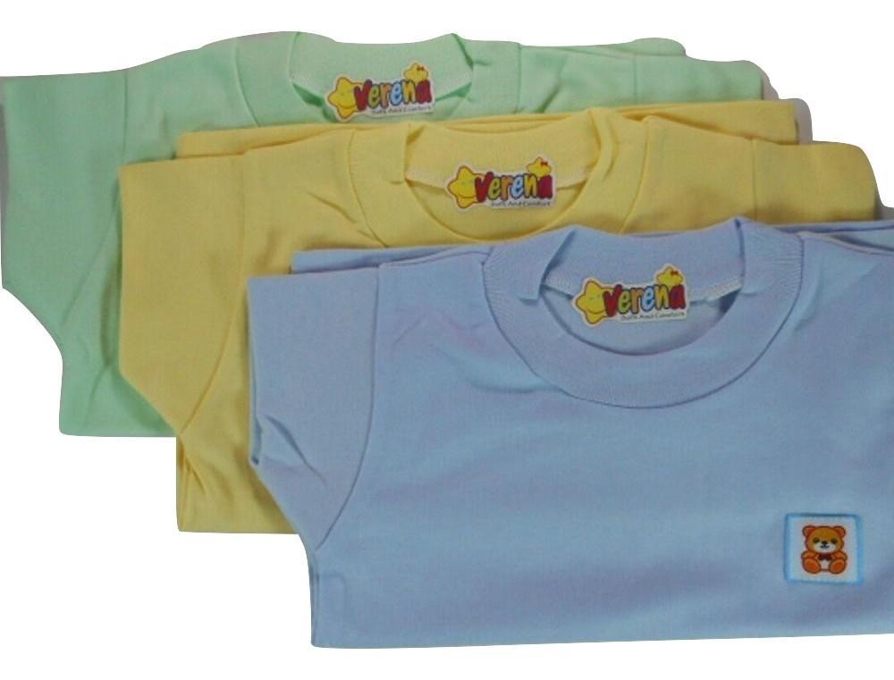 Baju Kaos Oblong Bayi / Baju Atasan Bayi Polos / Baju Lengan Pendek Bayi Verena L (12-18Bulan) - 1/2Lusin/6Pcs