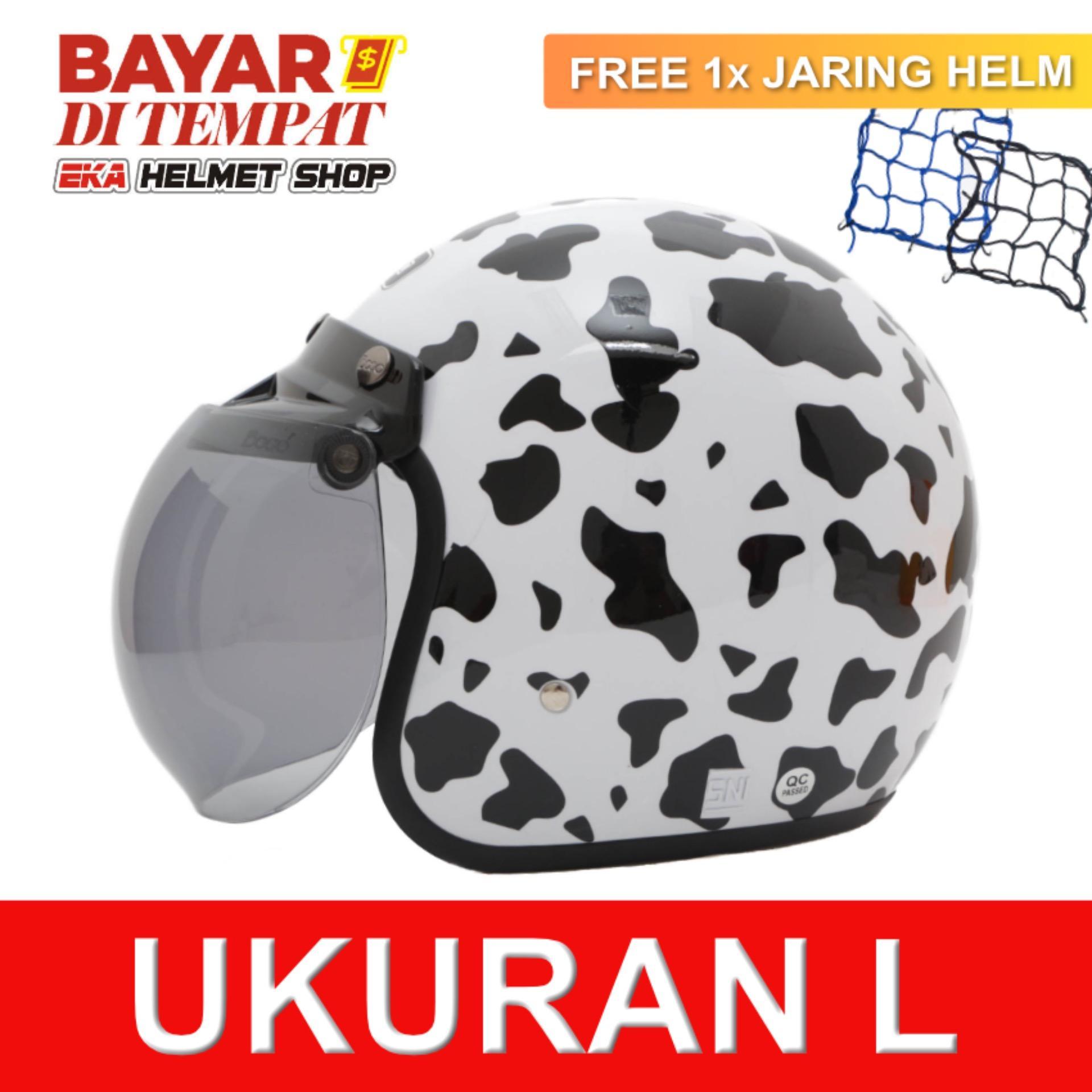 WTO Helmet Retro Bogo - Cow - Putih + Promo Gratis Jaring Helm