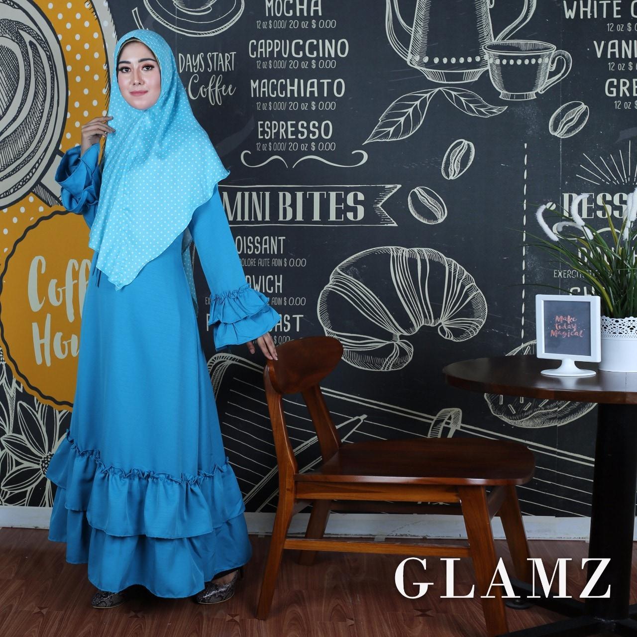 Hanifah turkis GZ gamis wanita baloteli turquoise
