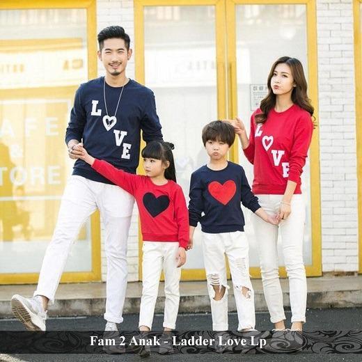 Jual Family Couple - Baju Keluarga Online - Fam 2 Anak - Ladder Love LP