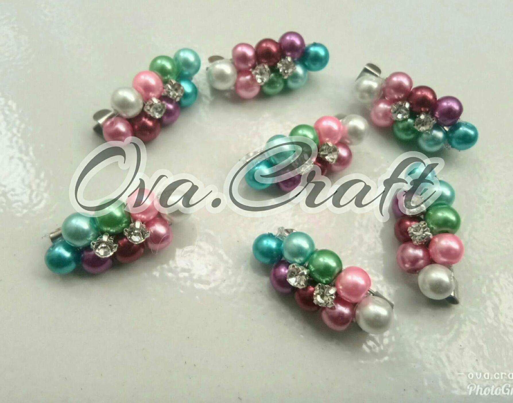 Bros Mutiara Dua Diamond Campur Warna Paket 10pcs By Ova.craft.