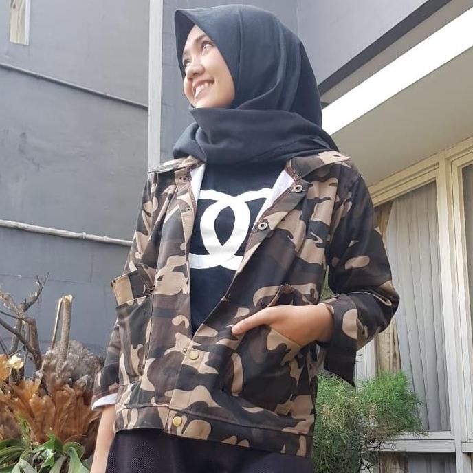 Mini Seoul Army Jaket Parka Loreng Wanita - Smart4K Design Ideas df5391751f