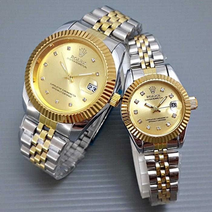 Promo Jam Tangan Couple Rolex Kw Super Jtr 167 Silver Gold Gratis Ongkir