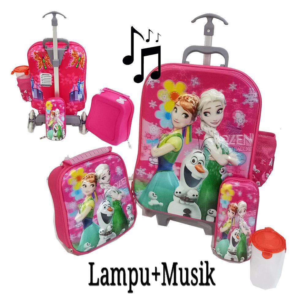Onlan Trolley Anak Frozen LAMPU dan MUSIK  4in1 Set 6 Roda Free Botol Minum Karakter Anak Perempuan Cantik - Pink