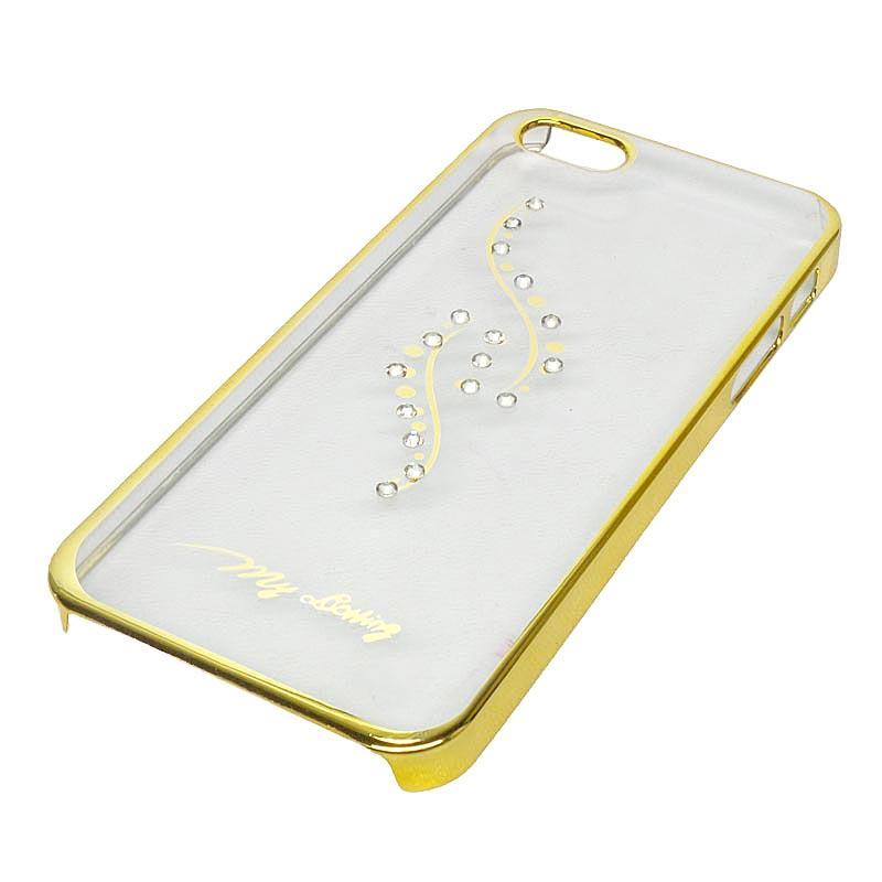 FAIRY CASE HARDCASE LIST GOLD SWAROVSKY APPLE IPHONE 5 A Aksesoris Handphone FAC Emas