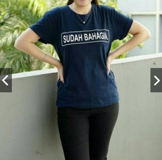 Clairestore Kaos Wanita Sudah Bahagia - Biru Tua