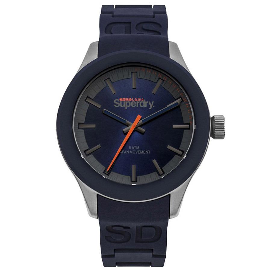 Superdry - Jam Tangan Pria - Silver-Biru - Rubber Biru - SYG211US