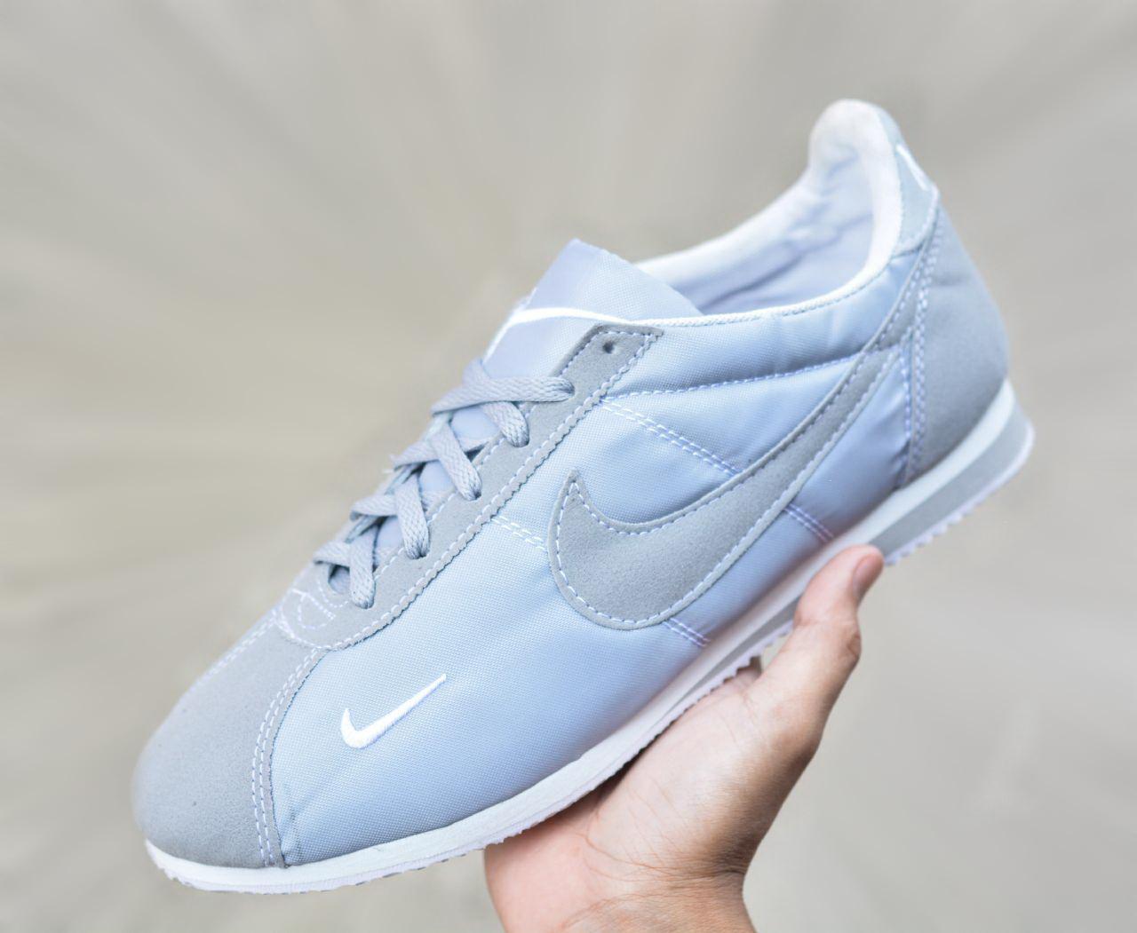 Sepatu NIKE Men Running Classic Cortez Leather Sepatu Lari Pria Import Quality - Grey White -