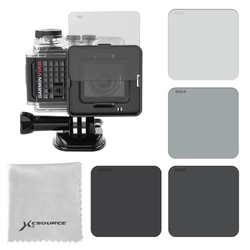 Sports ND Filter Camera Kit 4x ND2 ND4 ND8 ND16 for Garmin Virb Ultra 30