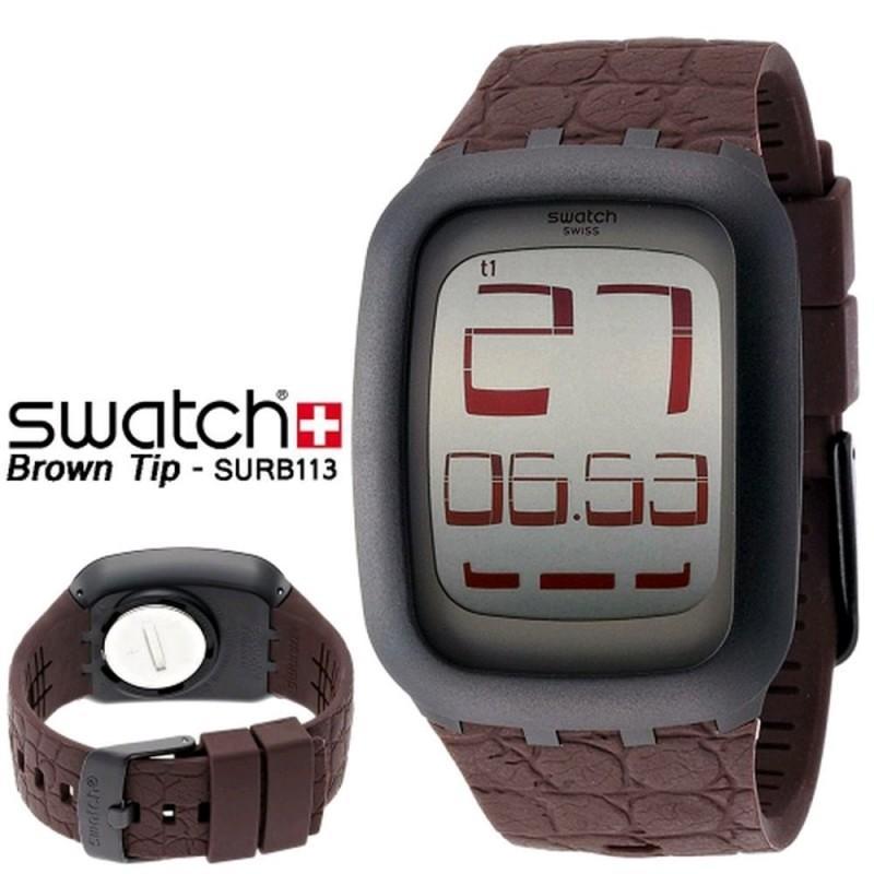 Swatch - Jam Tangan Pria - HItam-HItam - Rubber Coklat - SURB113 Brown Tip 2fb707bec8