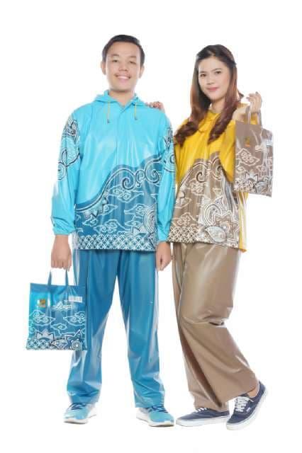 [ GARANSI 100 ] JAS HUJAN STELAN MOTIF BATIK INDONESIA merk TIGER HEAD ( BAJU+CELANA) @ jas hujan a
