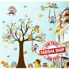Wall sticker Tree & Animals XL8192 (90x60) Stiker Dinding