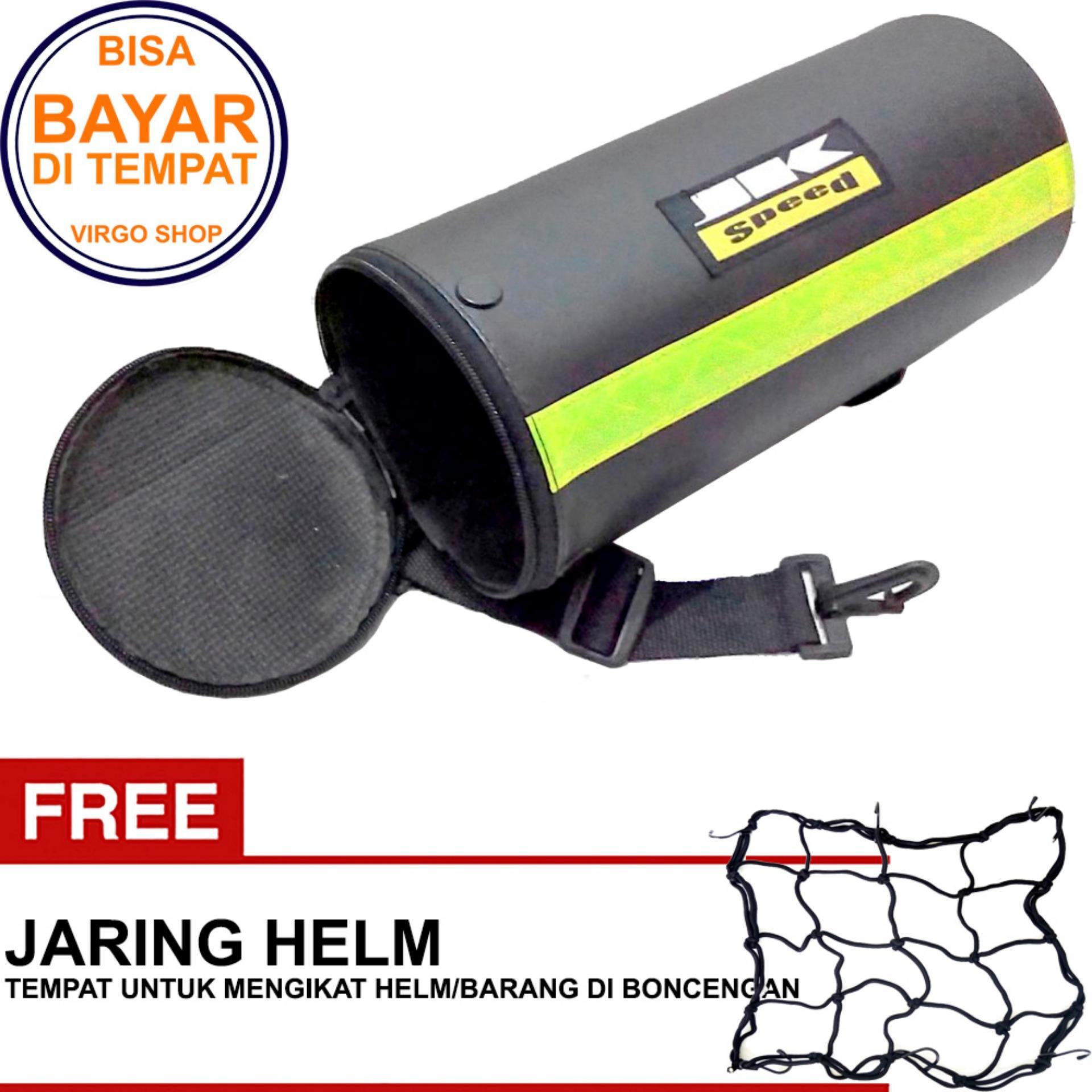 JK Speed - Tabung Bagasi Tas Jas Hujan Motor Touring Tour Biker - Size Medium Bonus Jaring Helm HITAM