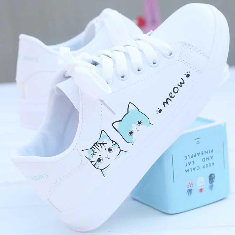 Sepatu Kets Sneakers Wanita Motif MEOW 216 - Kets Casual Pink Tosca Hitam bc477f8d18