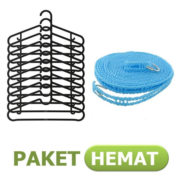 [1+1] Paket IKEA 10 pcs Gantungan Baju Spruttig Hanger + 1 Tali Jemuran Clothes Line 5 meter