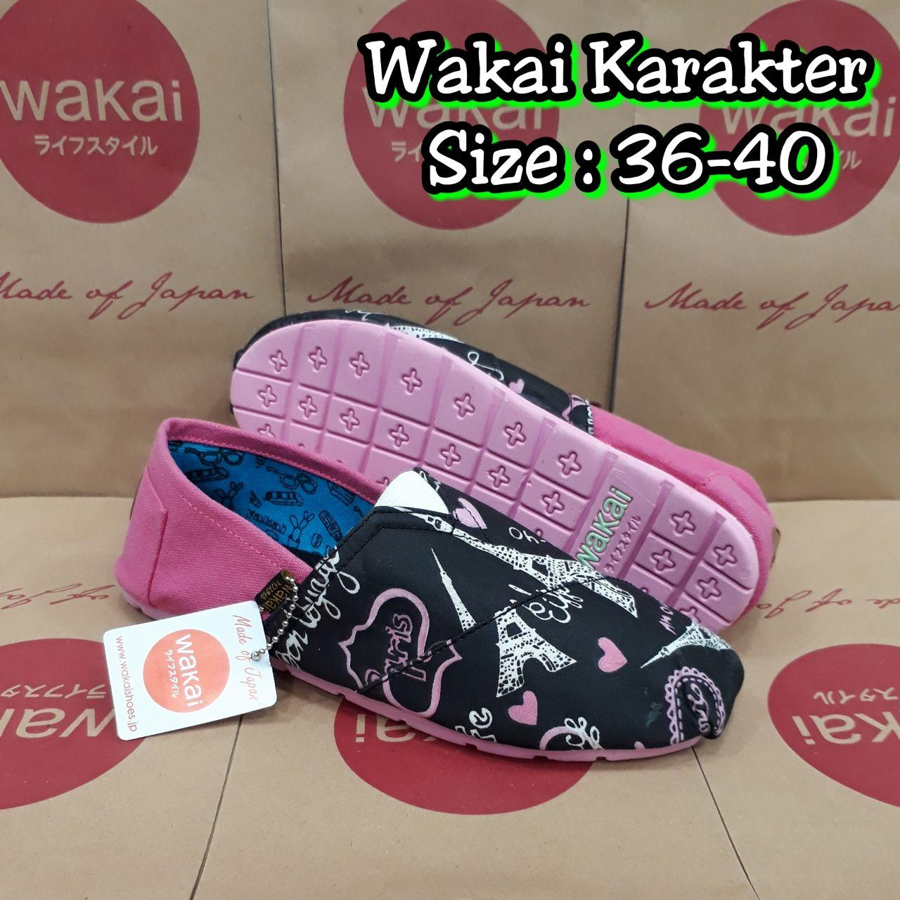 Wakai Slip on Hitam Pink PARIS uk36-40