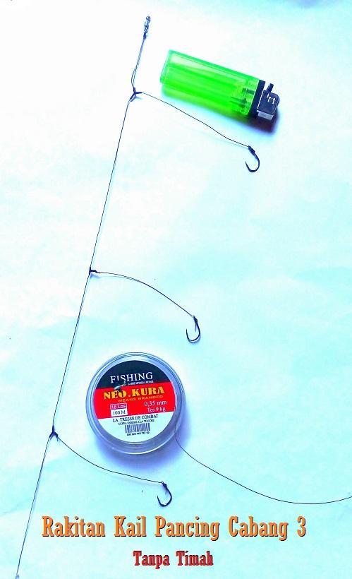 5 Pcs Rangkaian Kail Pancing Cabang 3 Timah Bawah Rakitan Kail Pancing Glosor Ikan Lele Nila Patin Mas Tripel Hook