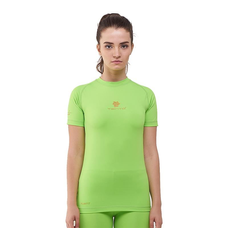 Tiento Baselayer Manset Rashguard Compression Baju Kaos Ketat Olahraga Bola Renang Running Gym Fitness Yoga Short Sleeve Green Stabilo Gold Original