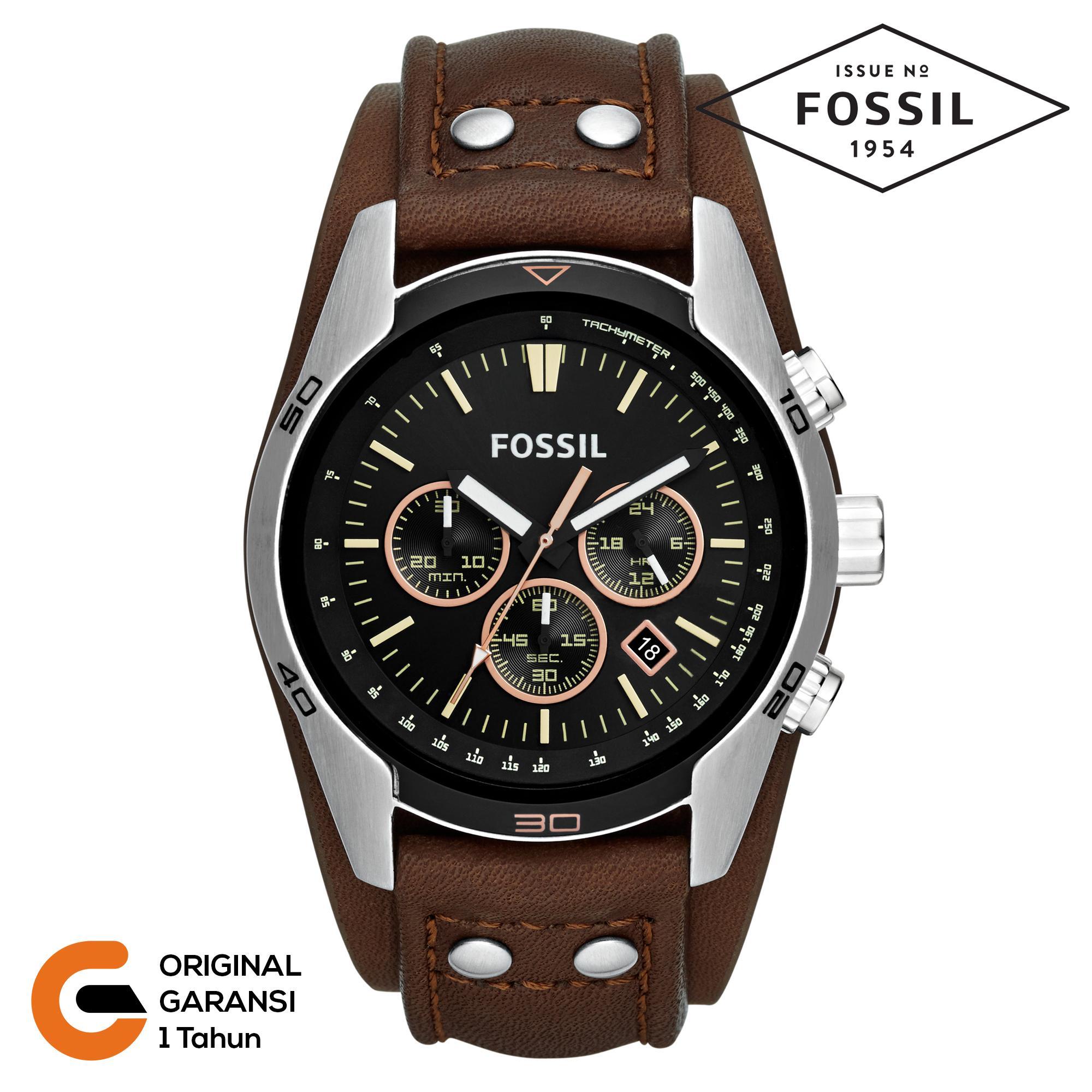Fossil Jam Tangan Pria Fossil Coachman CH2565 CH2891 Jam Tangan Pria Anti Air Chronograph Tali