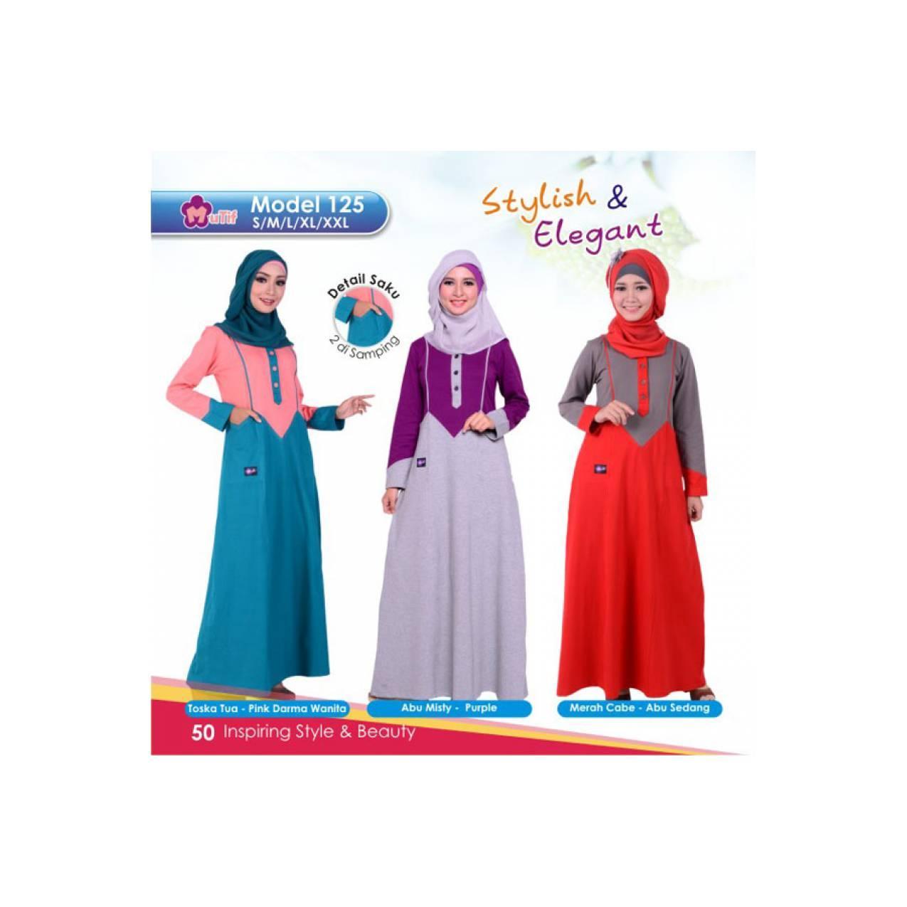 Baju Mutif Gamis Bahan Kaos Murah Ori - Model 125
