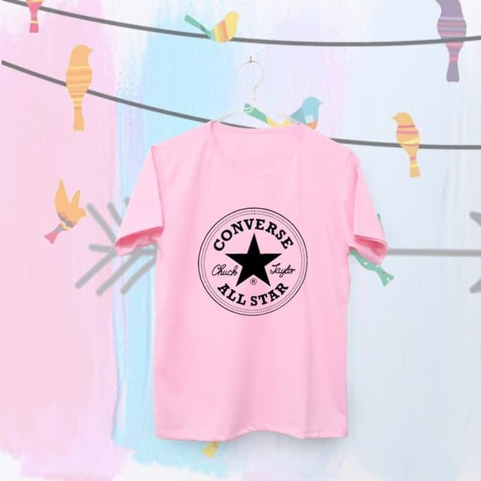 OBRAL Tumblr Tee u002F T-Shirt u002F Kaos Wanita Lengan Pendek Converse Warna Pink