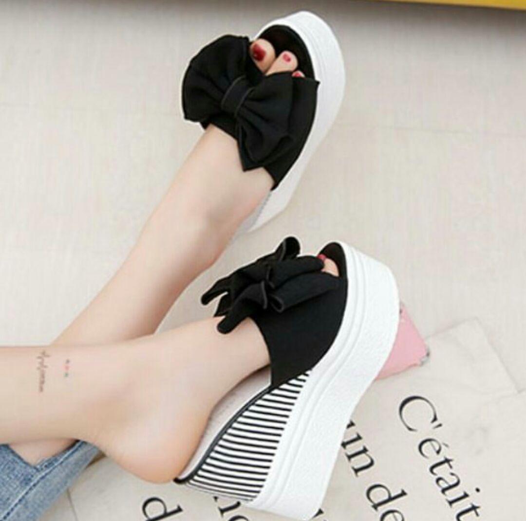 Sandal Wedges Wanita Belang Pita Dl 19 New