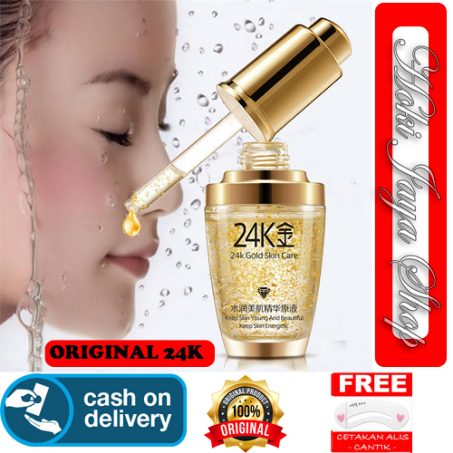 HOKI COD - Serum Wajah Emas 24K Bioaqua 24k Gold Bioaqua bb Cushion Skin Care Penghilang Kantung Mata dan Kerutan Wajah + Gratis Cetak Alis Cantik Premium - 1 Pcs