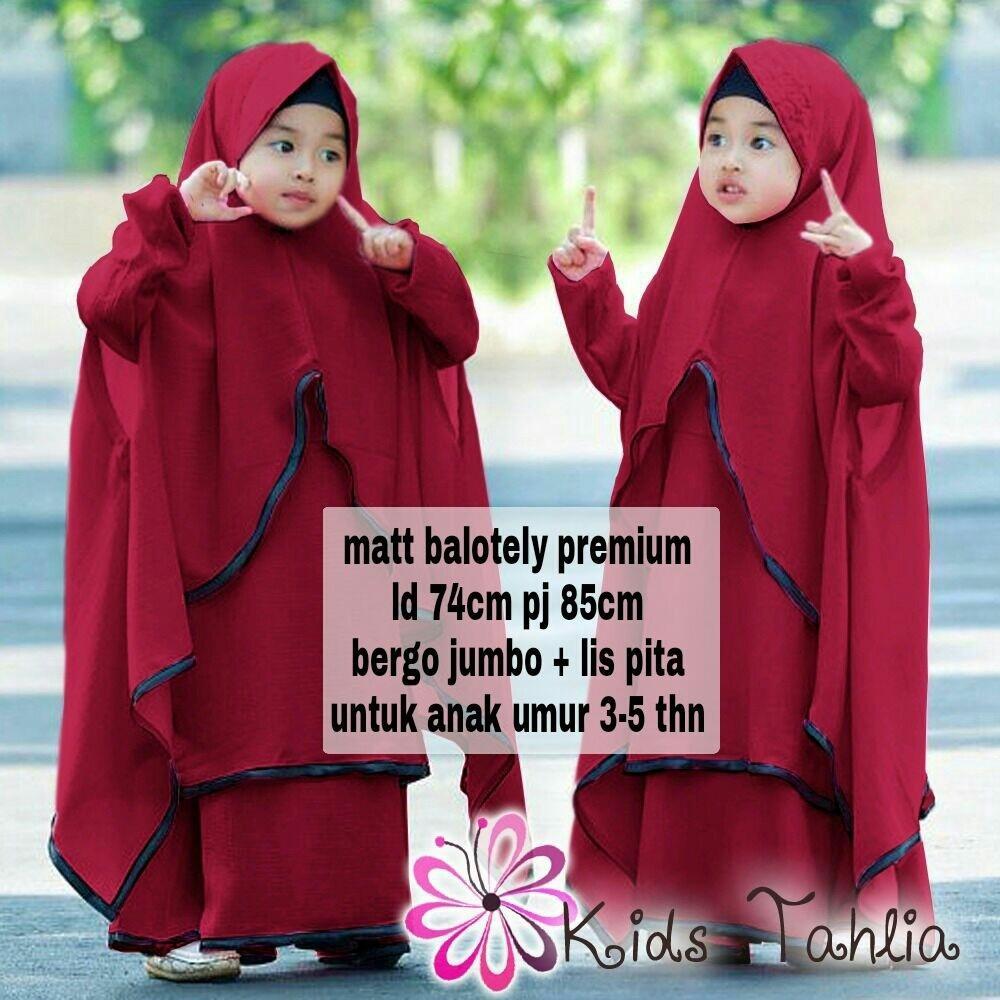 Ak - Maxy Tahlia Bergo / Dress Hijab Gamis Baju Sholat Pesta / Baju Muslim Anak Perempuan 3 - 5 Thn Murah Best Quality Akiko Fashion