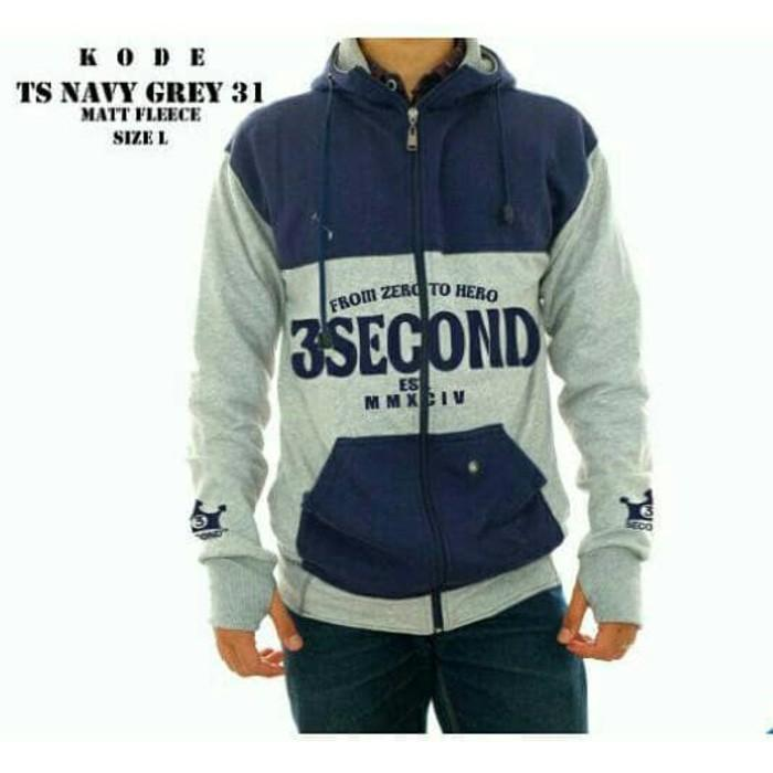Jaket Jumper Hodie Finger 3Second Grey Navy Harga Grosir - Yvl0pn
