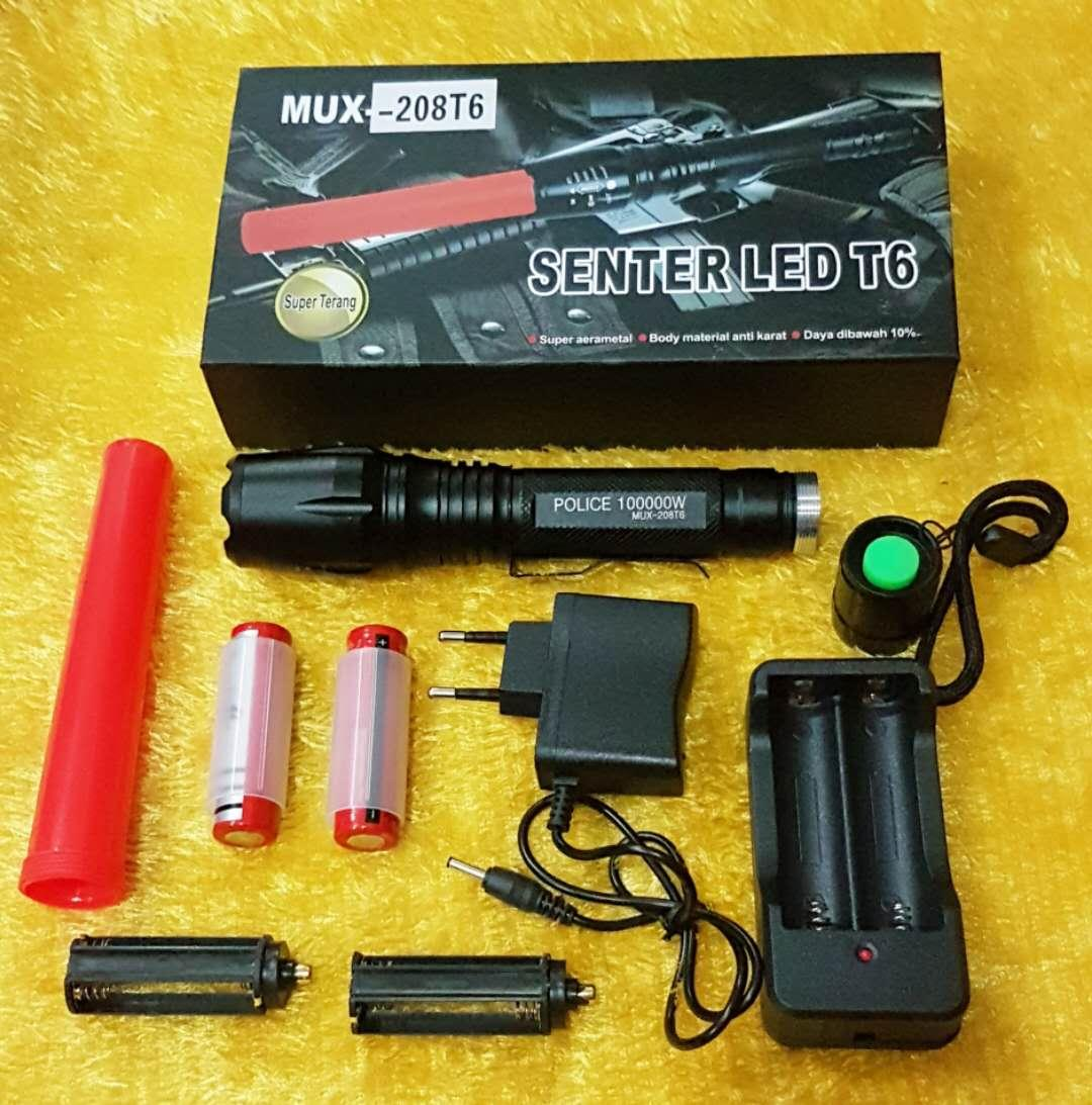 Senter Led T6 Police Swat Flashlight 208T6 - LED Putih - Zoom tarik mundur - 2 Batere