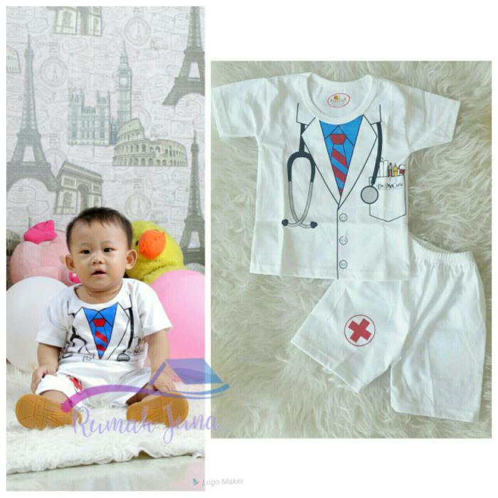 Setelan Dokter Putih Size S Baju Stelan Profesi Bayi Anak Murah Grosir