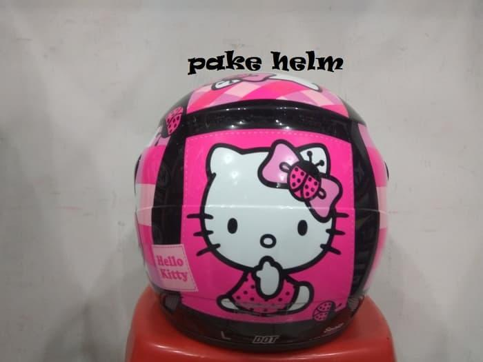 HELM GM EVOLUTION MOTIF HELLO KITTY #11 BLACK PINK HALF FACE