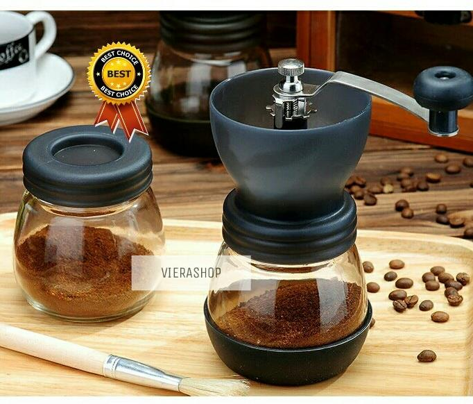 MANUAL COFFEE GRINDER GLASS SET FREE 1 GLASS/ PENGGILING KOPI MANUAL CERAMIC BURR