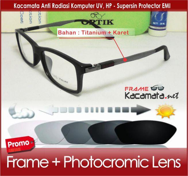 Frame kacamata 521 + lensa PHOTOCROMIC  minus/plus/silinder kacamata sport untuk pria dan wanita