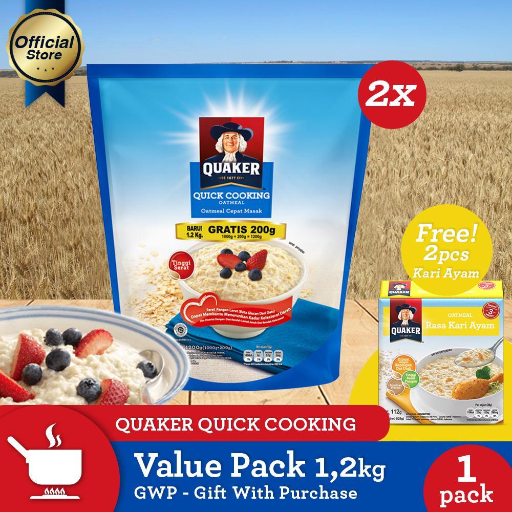 Jual Quaker Quick Cooking Oatmeal Value Pack 12kg 2 Pcs GWP