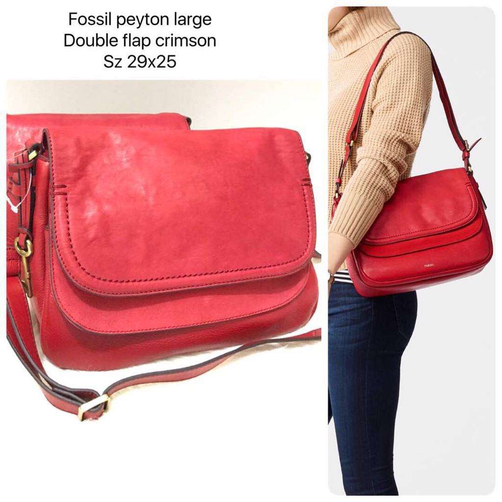 Sale Jual Tas Fossil Peyton Large Crimson Red
