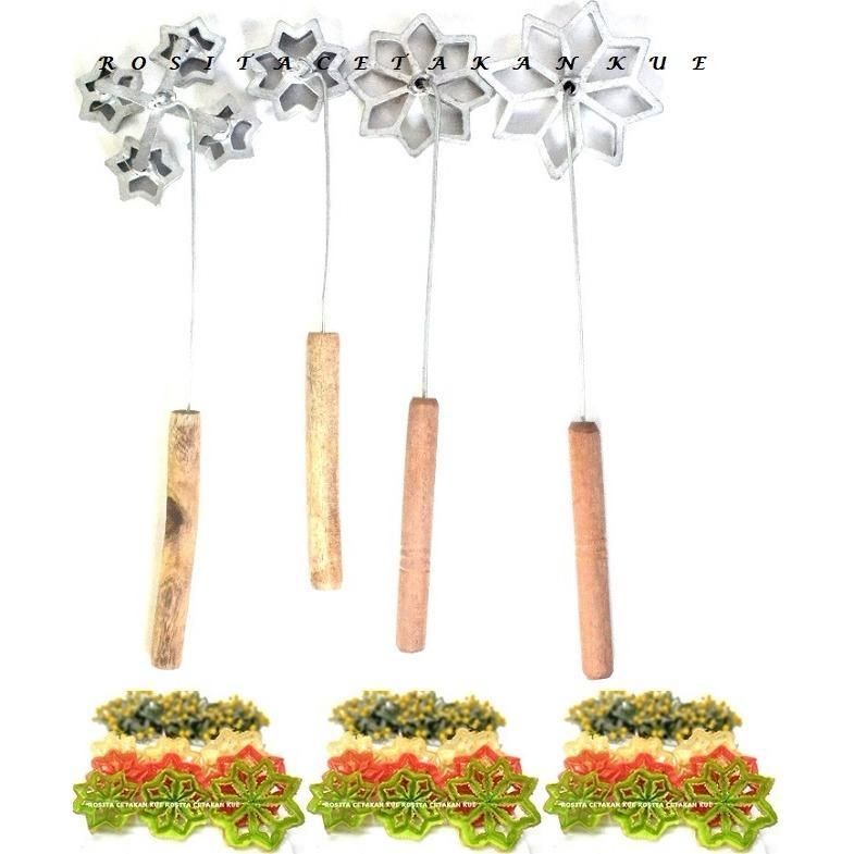 Rosita 4pcs Cetakan Kue Kembang Goyang/Lamtari/Matahari Motif Mawar