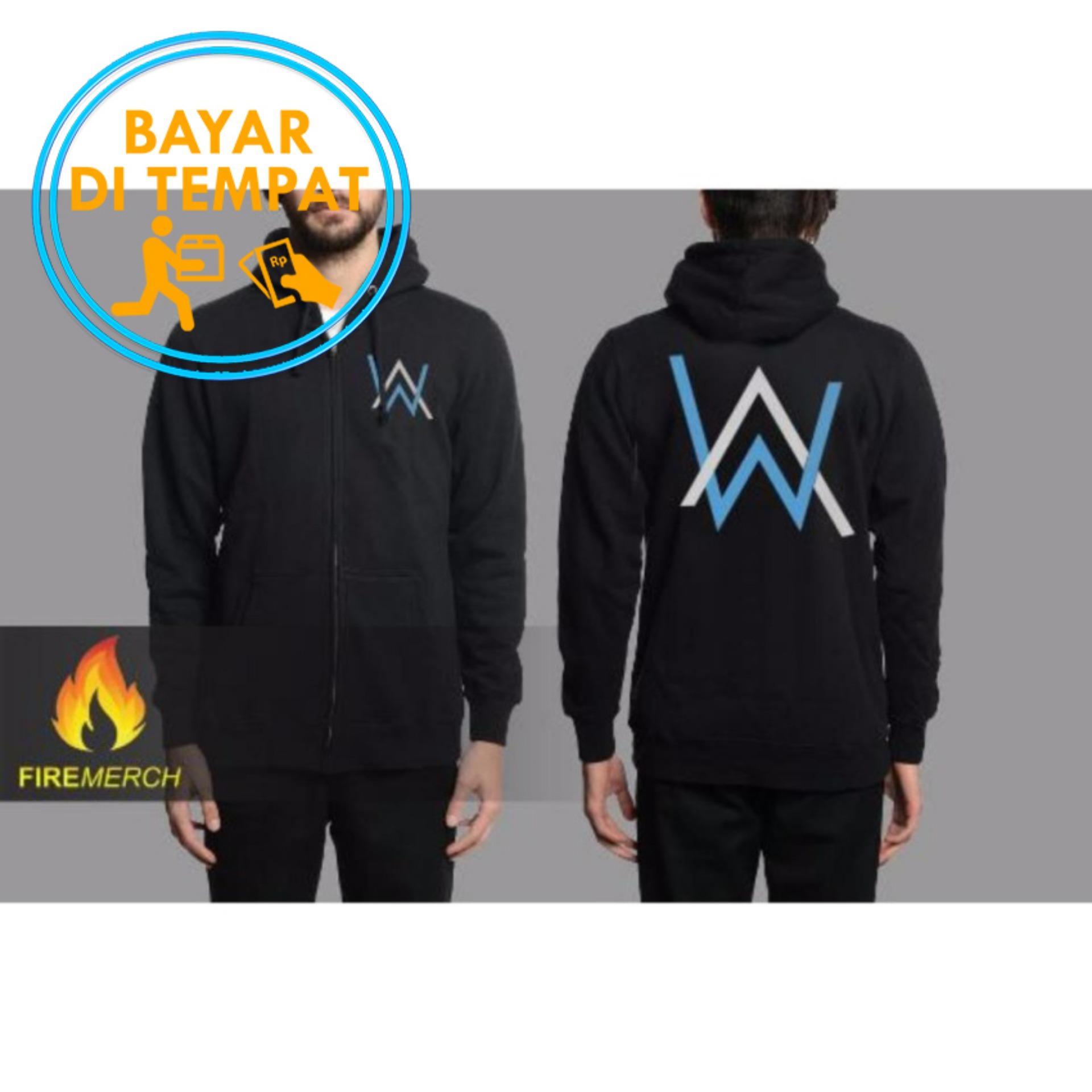 Jaket Murah Hoodie Zipper Alan Walker - Black (Logo Blue White)